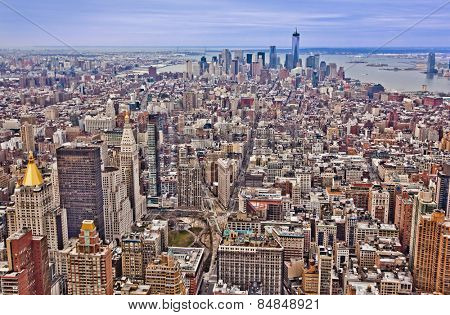 Midtown and lower Manhattan in New York City from high perspective