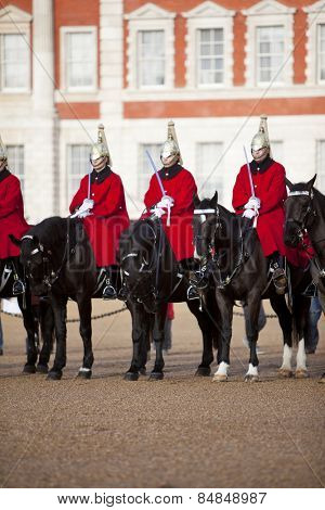 LONDON, ENGLAND DEC 21: Famous mounted Life Guards on Parade on December 21st, 2012 in London, United Kingdom.
