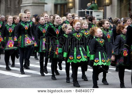 NEW YORK, NY, USA - MAR 16:  Dancers at the St. Patrick's Day Parade on March 16, 2013 in New York City, United States.