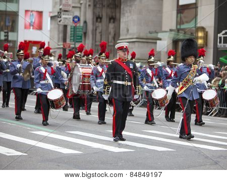 NEW YORK, NY, USA - MAR 16:  Valley Forge Military Academy cadet band at the St. Patrick's Day Parade on March 16, 2013 in New York City, United States.
