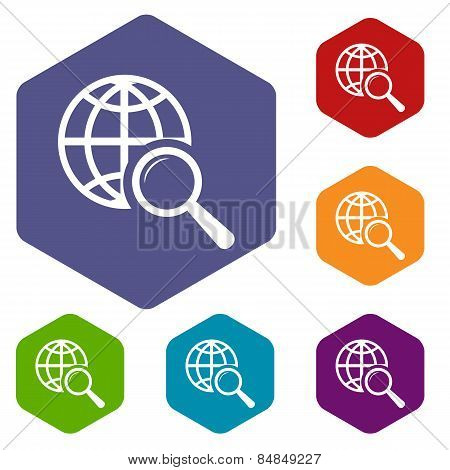 World scan rhombus icons