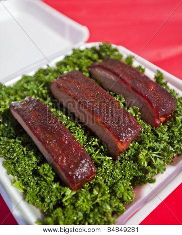 Fresh bbq ribs in a presentation box