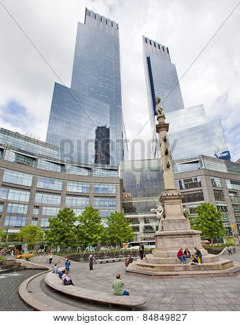 NEW YORK CITY - May 6: Columbus Circle is a major landmark and attraction in New York on May 6, 2012 in Manhattan, New York City.