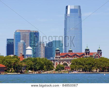 Ellis Island on the Hudson with Jersey City background