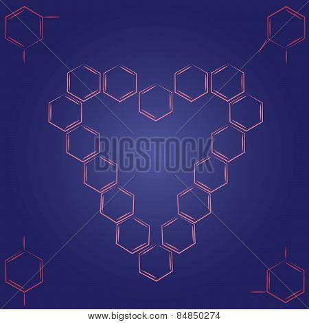 Molecule benzene ortho meta couple standing heart frame