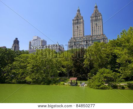 New York, NY, USA - JUNE 28:  The famous Central Park Lake which opened in 1858 on June 28th, 2012 in New York