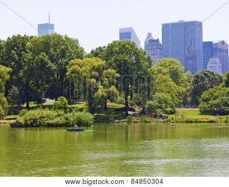 New York, NY, USA - JUNE 28:  Boaters on the famous Central Park Lake which opened in 1858 on June 28th, 2012 in New York