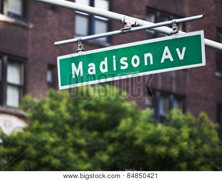 Madison Avenue sign in New York City