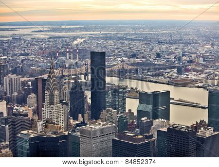 Midtown Manhattan in New York City from high perspective