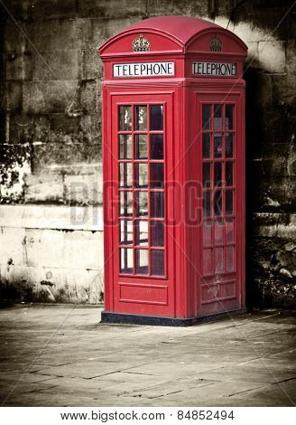 Classic red British telephone box in London