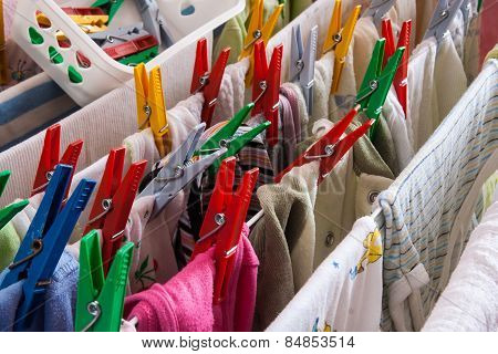 Clips And Clothes On Drying Line
