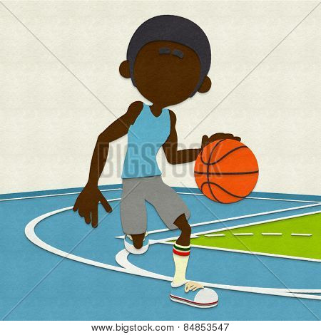 Felt Basketball Player Dribbling On Court