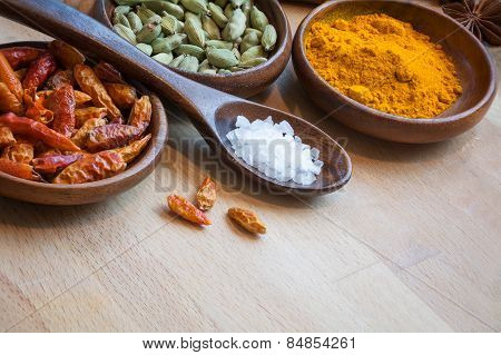 Red Chili, Cardamom And Curcuma In Wodden Bowls, Spices As Corner Background