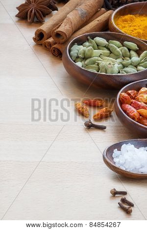 Spices For Indian Cooking, Vertical Corner Background