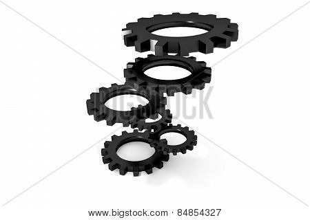 Tower Of Black Colored Metallic Cogwheels Hovering