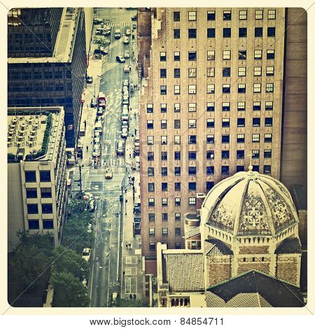 Aerial view of the streets of New York with Instagram effect filter