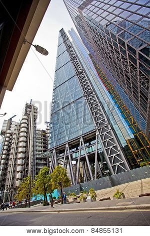 LONDON, UK - AUG 24, 2014: The Lloyds and Leadenhall buildings in the City of London.