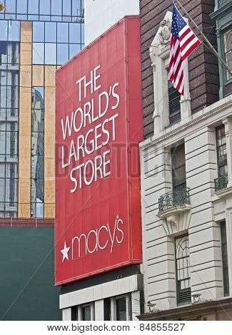 NEW YORK, USA - NOVEMBER 13th, 2014: Macy's in New York city signage on the storefront of the chain's premier store.
