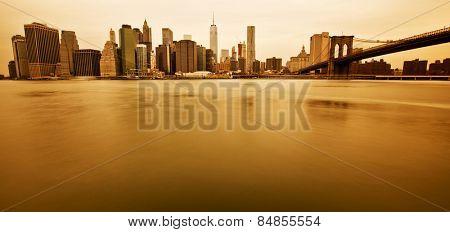 New York - Panoramic view of Manhattan Skyline and Brooklyn Bridge