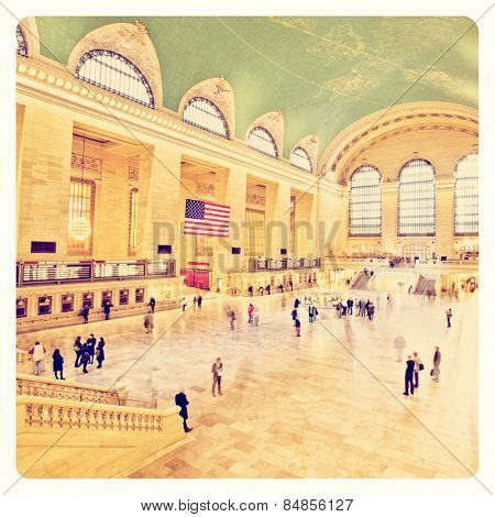 Grand Central station full of commuters long exposure with Instagram effect filter