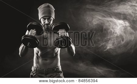 Cool Attractive Man Lifting Weights