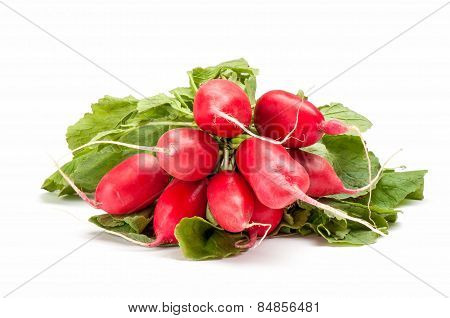 Radish With Green Leaves On A White Background