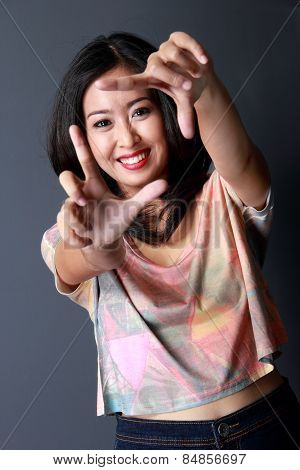 Fashion Portrait Of Cheerful Young Woman