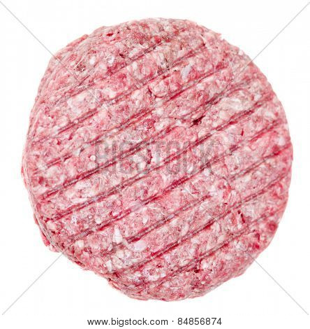 Raw beef burger isolated on white