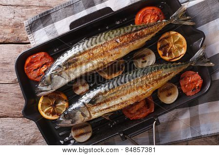 Grilled Mackerel In Grill Pan Closeup. Horizontal Top View