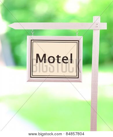 Signboard with text Motel
