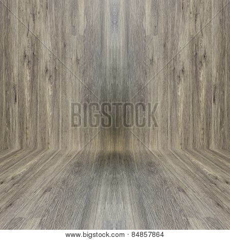 Wood Texture On Wall And Floor As Background
