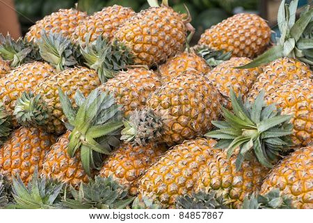 Pile Of Fresh Pineapples In Market