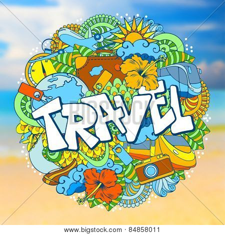 Travel defocused background with doodles elements. Vector illustration.