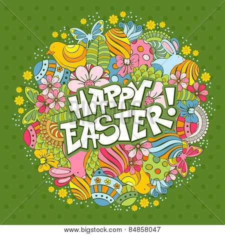Easter festive doodle background with elements of spring holidays