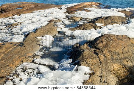Melting Ice On The Baltic Sea Shore