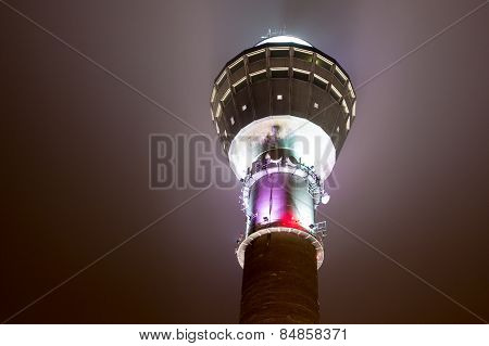 Puijo Outlook Tower In Night Lighting