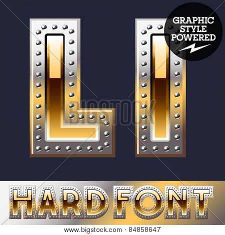 Vector set of bold luxury font in gold color with riveted border. Letter L