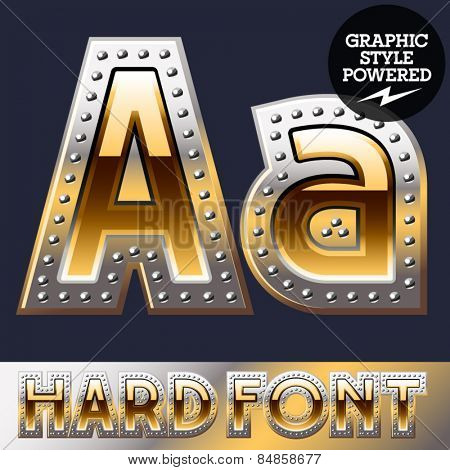 Vector set of bold luxury font in gold color with riveted border. Letter A