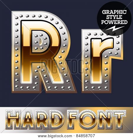 Vector set of bold luxury font in gold color with riveted border. Letter R