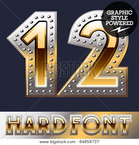 Vector set of bold luxury font in gold color with riveted border. Numbers 1 2