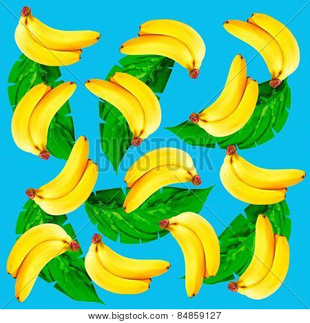 Tropical background with bananas and green leaves