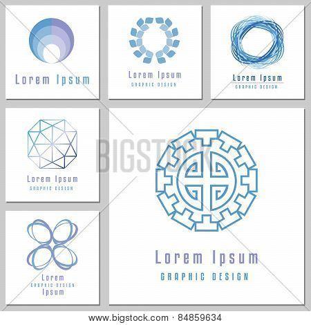 Collection Emblems With Abstract Round Shapes