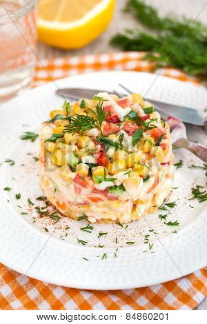 Fresh Vegetable And Crab Salad With Mayonnaise