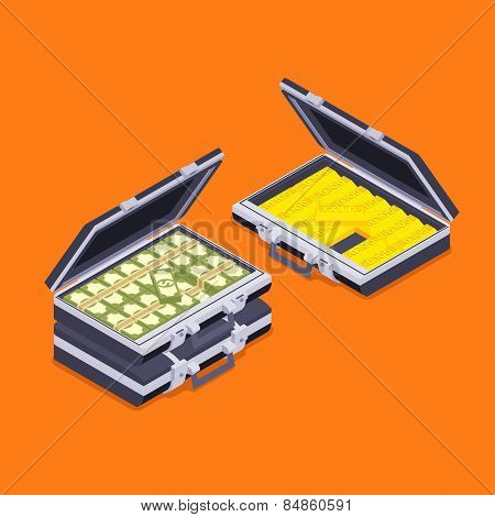 Isometric open briefcases with the golden bars and money