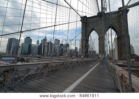 Brooklyn Bridge With People Cycling Manhattan Ney York