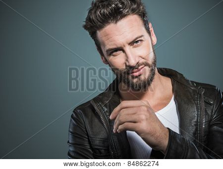 Cool Attractive Man In Leather Jacket
