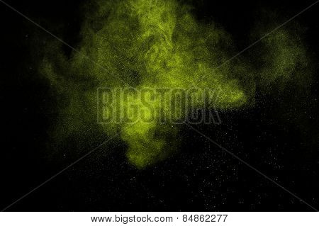 Abstract green paint Holi.
