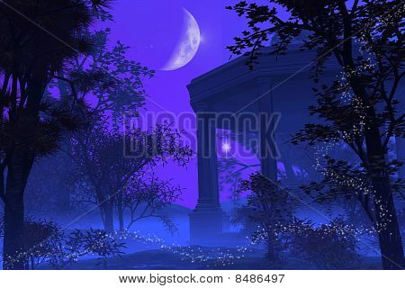 Temple of Diana in the Moonlight