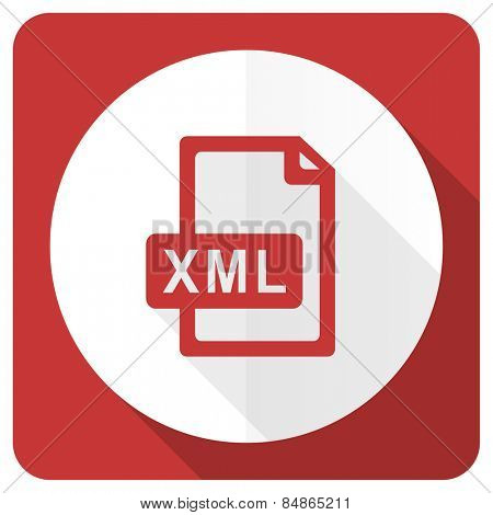 xml file red flat icon