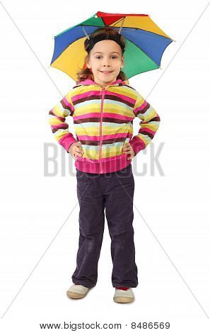 Little Girl In Umbrella Hat Standing And Smiling, Looking At Camera, Isolated On White